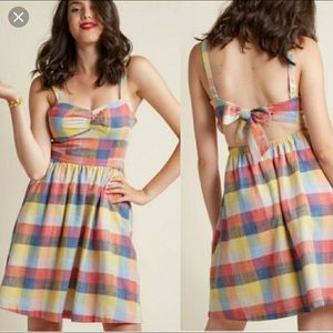 ModCloth Conservatory Chic A line dress in Madras